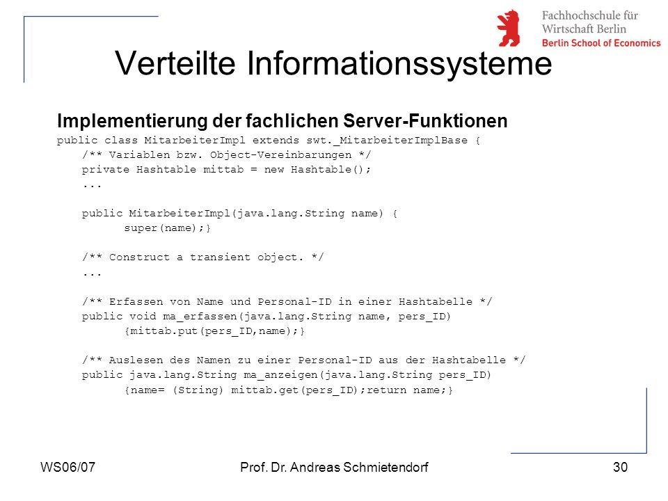 WS06/07Prof. Dr. Andreas Schmietendorf30 Verteilte Informationssysteme Implementierung der fachlichen Server-Funktionen public class MitarbeiterImpl e