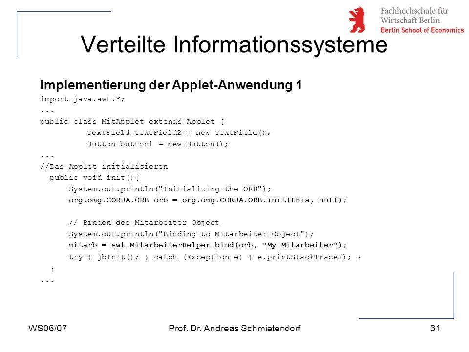 WS06/07Prof. Dr. Andreas Schmietendorf31 Verteilte Informationssysteme Implementierung der Applet-Anwendung 1 import java.awt.*;... public class MitAp
