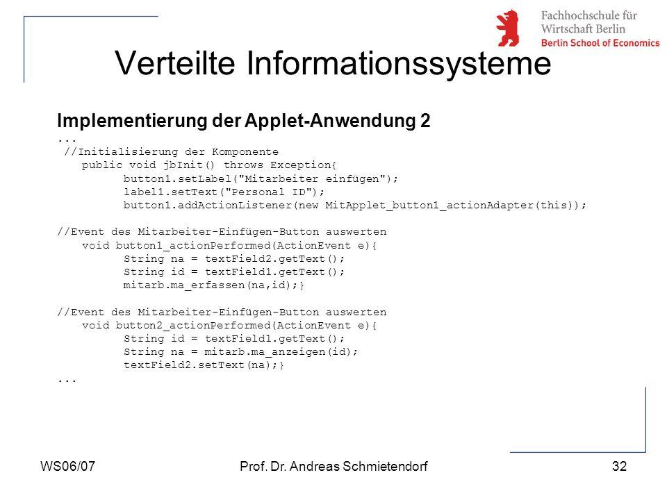 WS06/07Prof. Dr. Andreas Schmietendorf32 Verteilte Informationssysteme Implementierung der Applet-Anwendung 2... //Initialisierung der Komponente publ