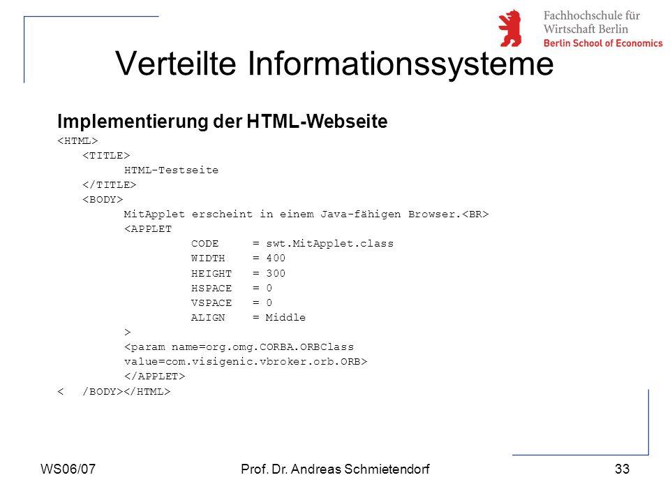 WS06/07Prof. Dr. Andreas Schmietendorf33 Verteilte Informationssysteme Implementierung der HTML-Webseite HTML-Testseite MitApplet erscheint in einem J
