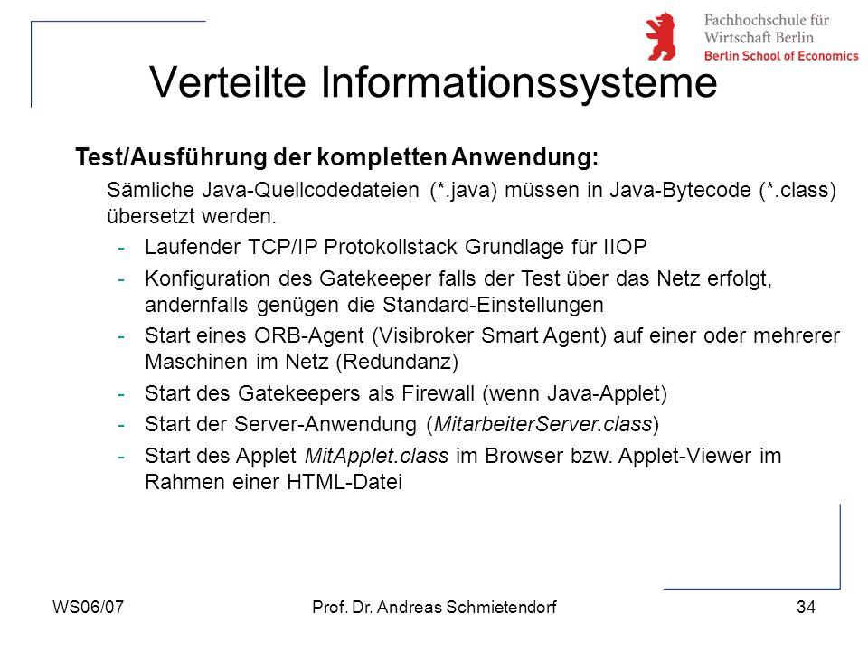 WS06/07Prof. Dr. Andreas Schmietendorf34 Verteilte Informationssysteme Test/Ausführung der kompletten Anwendung: Sämliche Java-Quellcodedateien (*.jav
