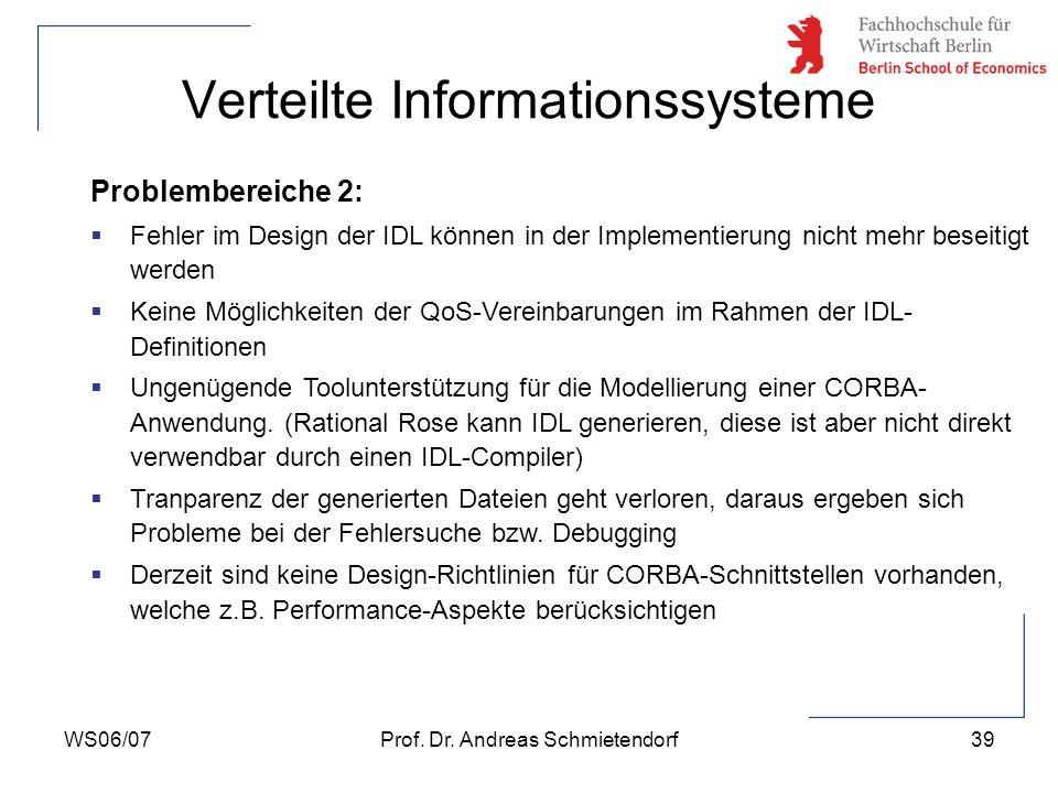 WS06/07Prof. Dr. Andreas Schmietendorf39 Verteilte Informationssysteme Problembereiche 2: Fehler im Design der IDL können in der Implementierung nicht
