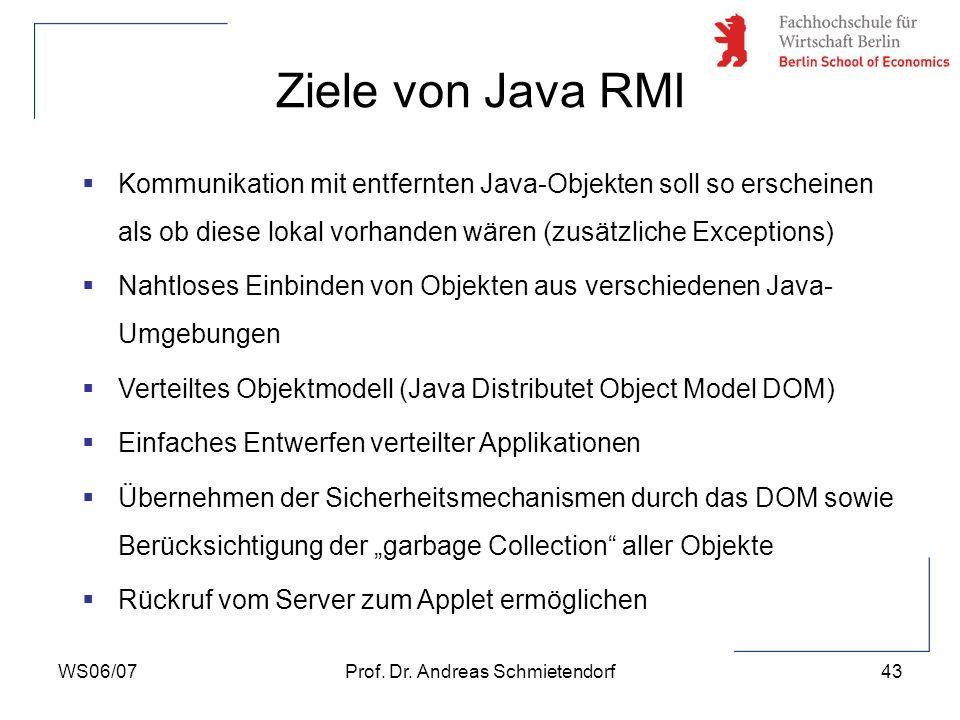 WS06/07Prof. Dr. Andreas Schmietendorf43 Ziele von Java RMI Kommunikation mit entfernten Java-Objekten soll so erscheinen als ob diese lokal vorhanden