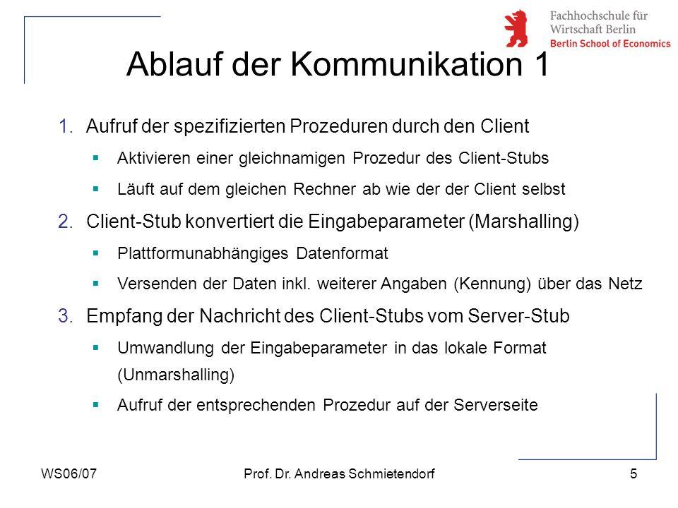 WS06/07Prof. Dr. Andreas Schmietendorf5 Ablauf der Kommunikation 1 1.Aufruf der spezifizierten Prozeduren durch den Client Aktivieren einer gleichnami
