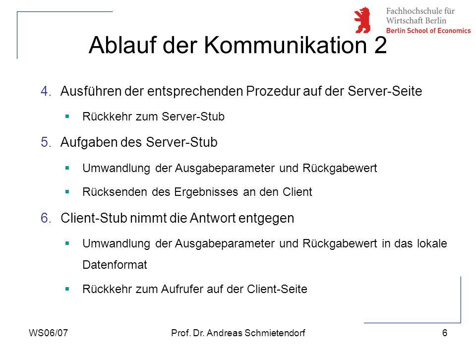 WS06/07Prof. Dr. Andreas Schmietendorf6 Ablauf der Kommunikation 2 4.Ausführen der entsprechenden Prozedur auf der Server-Seite Rückkehr zum Server-St
