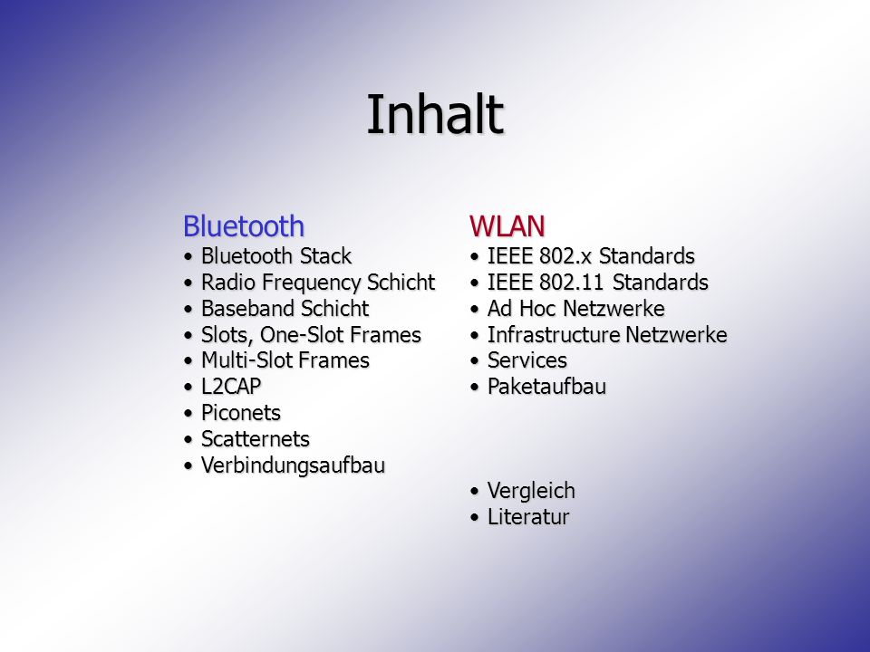 Literatur Bluetooth Specifications, Bluetooth Special Interest Group http://www.bluetooth.com IEEE Std 802.x, Institute of Electrical and Electronics Engineers http://grouper.ieee.org/groups/802/11/index.html + diverse Artikel aus Suchmaschinen
