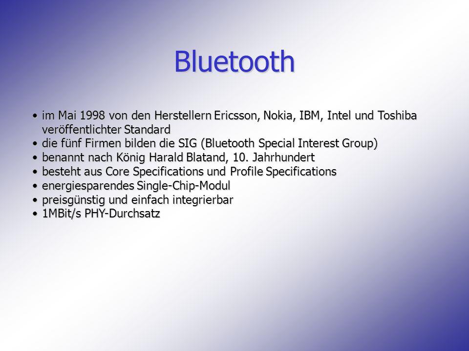 Bluetooth im Mai 1998 von den Herstellern Ericsson, Nokia, IBM, Intel und Toshiba veröffentlichter Standardim Mai 1998 von den Herstellern Ericsson, N