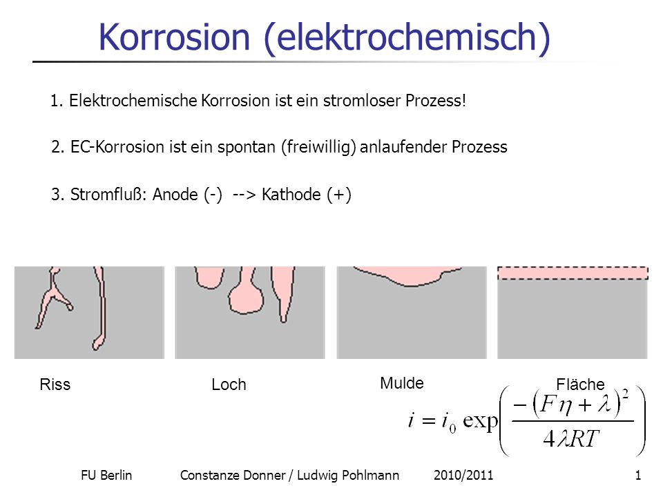 FU Berlin Constanze Donner / Ludwig Pohlmann 2010/20112 Korrosion Anode: Metalloxidation Me z+ Me n O z Al, Ti, Cr formt dichte Passivschichten Me n O z Poröse Schichten ( Stahl, Eisen) 3-5 nm Kathode: Sauerstoffreduktion Wasserstoffreduktion G = -nFE TD Kriterium:= ( Ox – Red) ( Bsp.