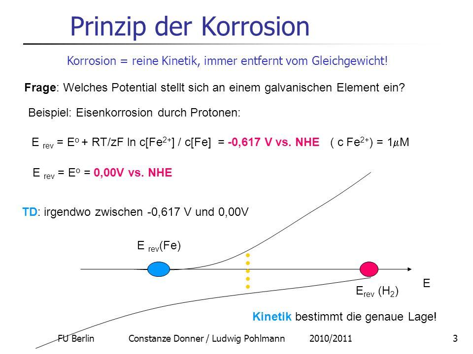 FU Berlin Constanze Donner / Ludwig Pohlmann 2010/20113 Prinzip der Korrosion Korrosion = reine Kinetik, immer entfernt vom Gleichgewicht! Frage: Welc