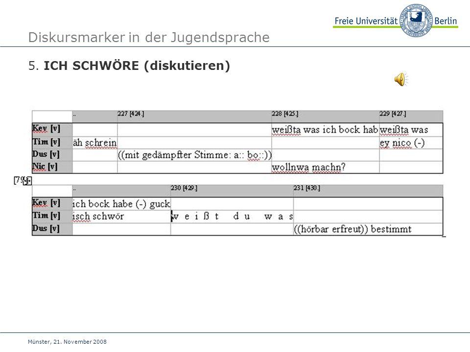 Münster, 21. November 2008 Diskursmarker in der Jugendsprache 5. ICH SCHWÖRE (diskutieren)