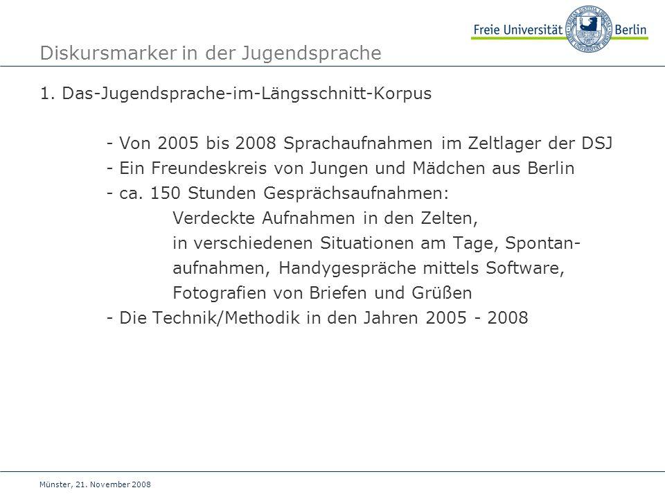 Münster, 21.November 2008 Diskursmarker in der Jugendsprache 1.