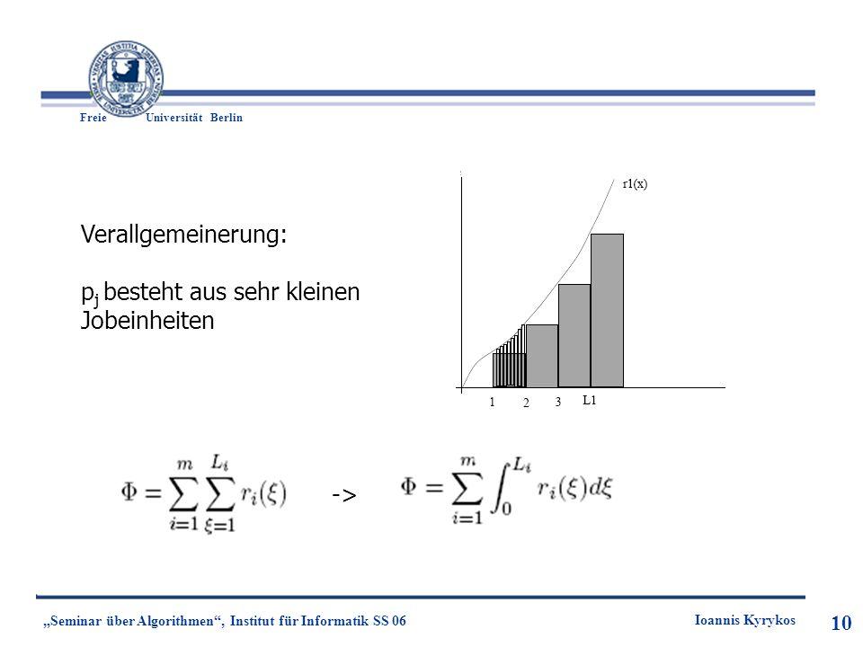 10 Freie UniversitätBerlin Ioannis Kyrykos Seminar über Algorithmen, Institut für Informatik SS 06 10 Verallgemeinerung: p j besteht aus sehr kleinen