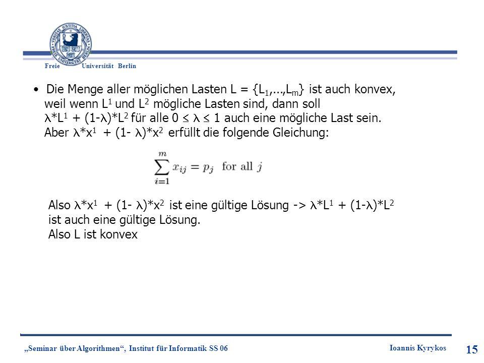 15 Freie UniversitätBerlin Ioannis Kyrykos Seminar über Algorithmen, Institut für Informatik SS 06 15 Die Menge aller möglichen Lasten L = {L 1,...,L