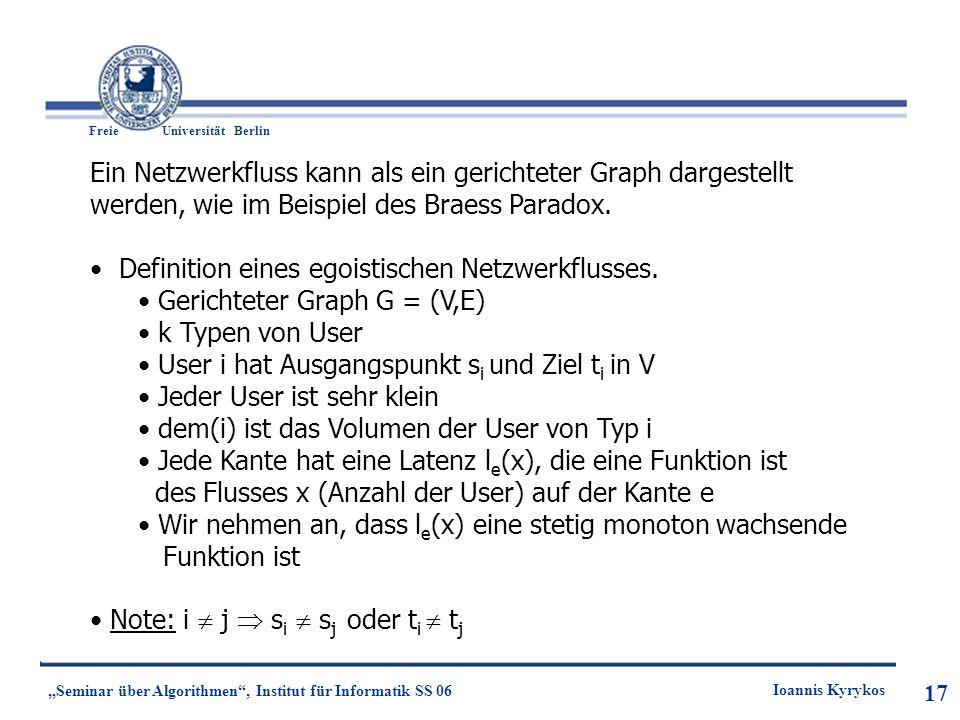 17 Freie UniversitätBerlin Ioannis Kyrykos Seminar über Algorithmen, Institut für Informatik SS 06 17 Ein Netzwerkfluss kann als ein gerichteter Graph