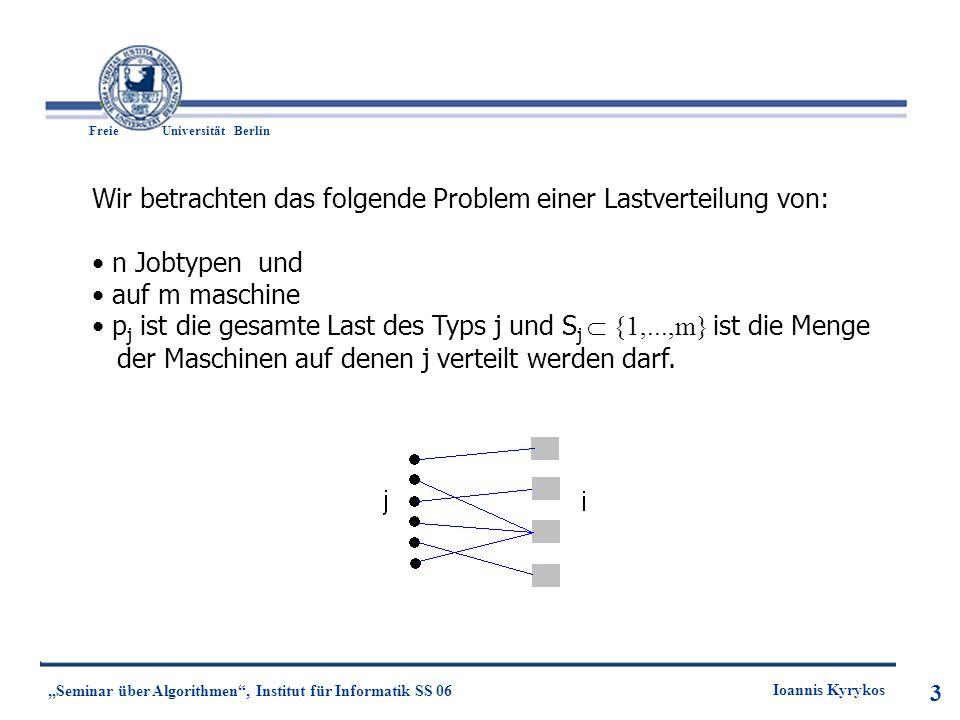 3 Freie UniversitätBerlin Ioannis Kyrykos Seminar über Algorithmen, Institut für Informatik SS 06 3 Wir betrachten das folgende Problem einer Lastvert