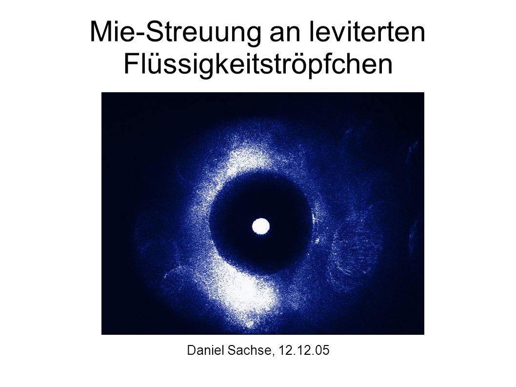 Mie-Streuung an leviterten Flüssigkeitströpfchen Daniel Sachse, 12.12.05