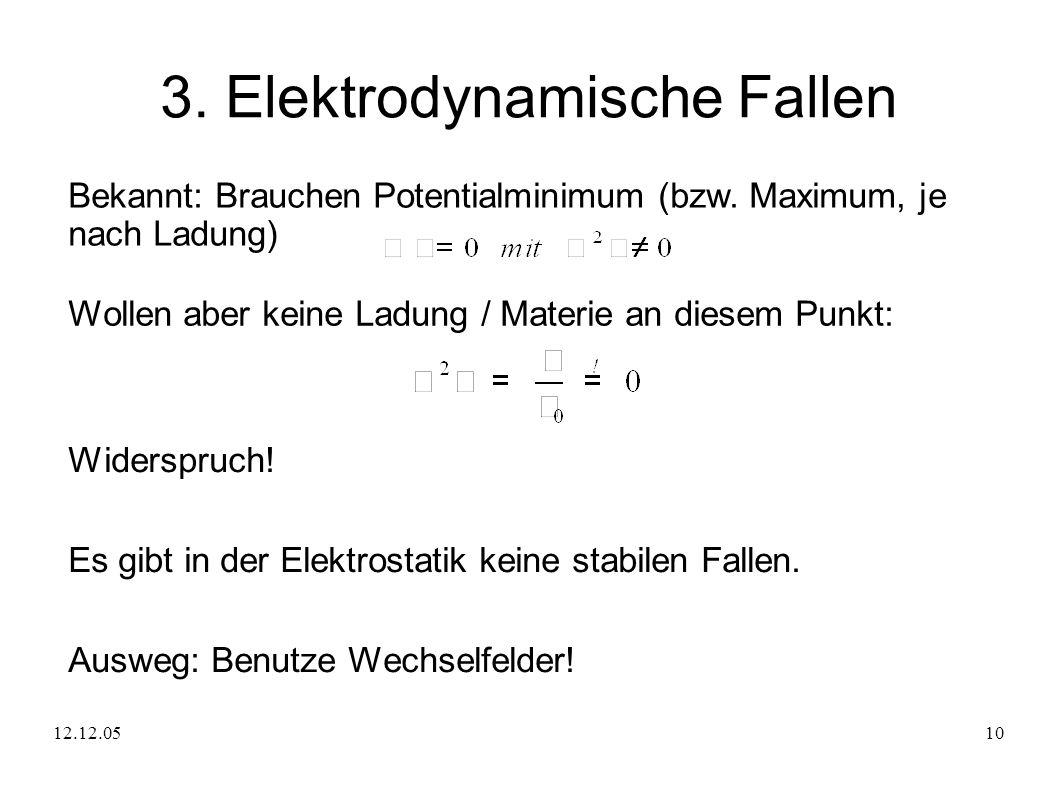 12.12.0510 3. Elektrodynamische Fallen Bekannt: Brauchen Potentialminimum (bzw. Maximum, je nach Ladung) Wollen aber keine Ladung / Materie an diesem