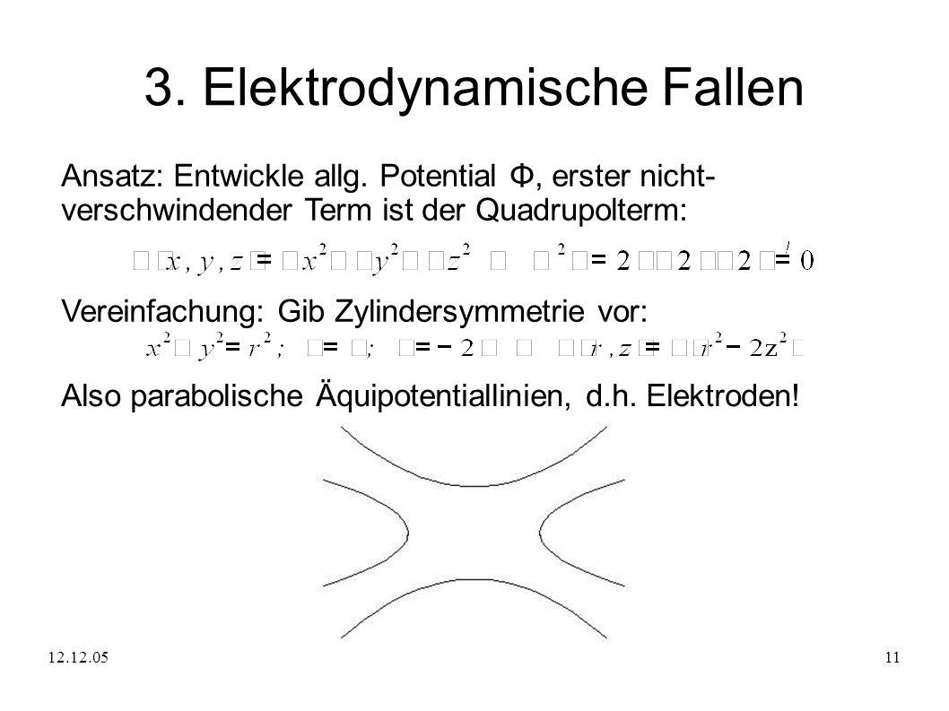 12.12.0511 3. Elektrodynamische Fallen Ansatz: Entwickle allg. Potential Φ, erster nicht- verschwindender Term ist der Quadrupolterm: Vereinfachung: G