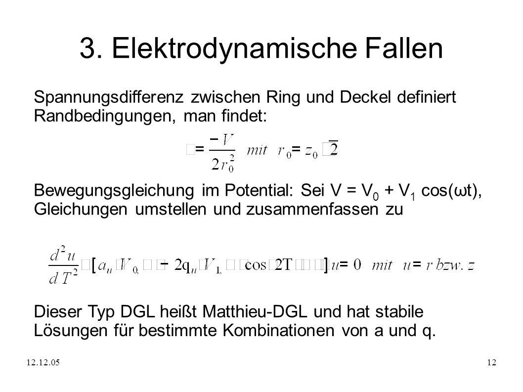 12.12.0512 3. Elektrodynamische Fallen Spannungsdifferenz zwischen Ring und Deckel definiert Randbedingungen, man findet: Bewegungsgleichung im Potent