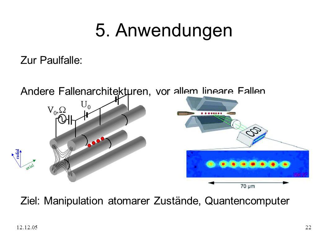 12.12.0522 5. Anwendungen Zur Paulfalle: Andere Fallenarchitekturen, vor allem lineare Fallen Ziel: Manipulation atomarer Zustände, Quantencomputer