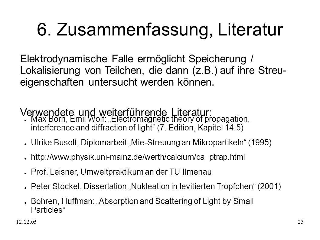12.12.0523 6. Zusammenfassung, Literatur Elektrodynamische Falle ermöglicht Speicherung / Lokalisierung von Teilchen, die dann (z.B.) auf ihre Streu-
