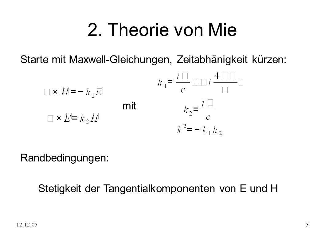 12.12.055 2. Theorie von Mie Starte mit Maxwell-Gleichungen, Zeitabhänigkeit kürzen: mit Randbedingungen: Stetigkeit der Tangentialkomponenten von E u