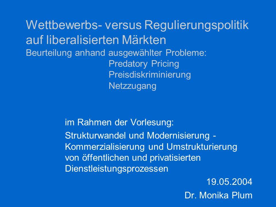 2 Politikoptionen Charakterisierung postalischer Märkte Problemfelder und Lösungsansätze –Quersubventionierung –Predatory Pricing –Preisdiskriminierung –Diskriminierung beim Netzzugang Erfahrungen in Schweden und Neuseeland Gliederung