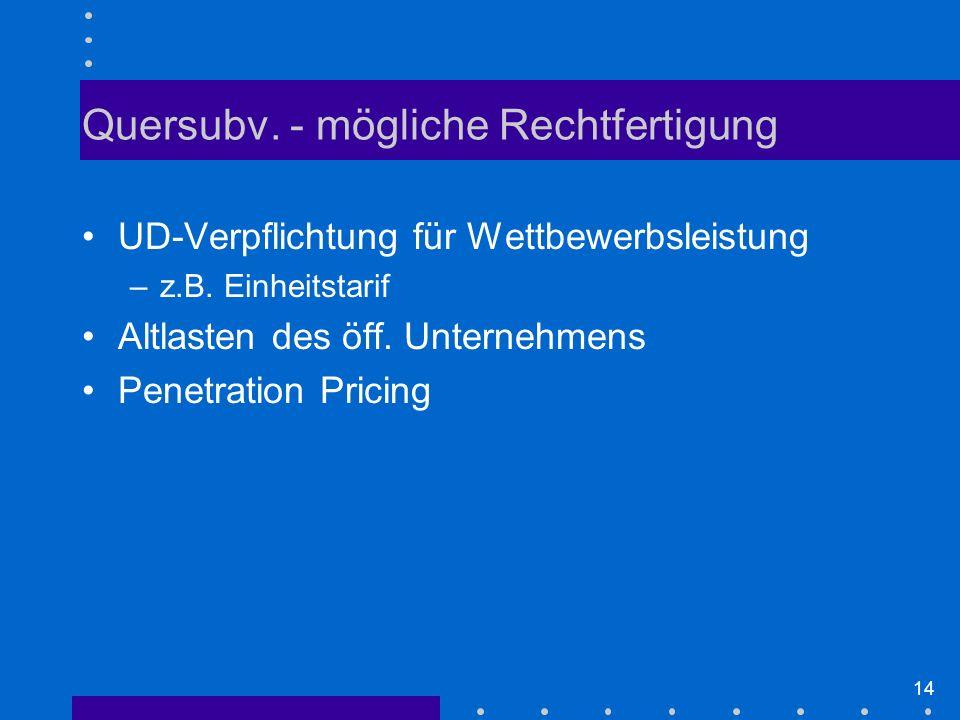 14 Quersubv.- mögliche Rechtfertigung UD-Verpflichtung für Wettbewerbsleistung –z.B.