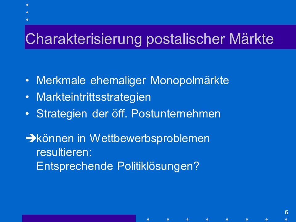 6 Merkmale ehemaliger Monopolmärkte Markteintrittsstrategien Strategien der öff.