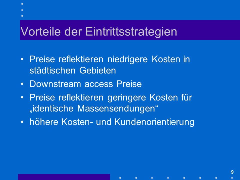 9 Vorteile der Eintrittsstrategien Preise reflektieren niedrigere Kosten in städtischen Gebieten Downstream access Preise Preise reflektieren geringere Kosten für identische Massensendungen höhere Kosten- und Kundenorientierung