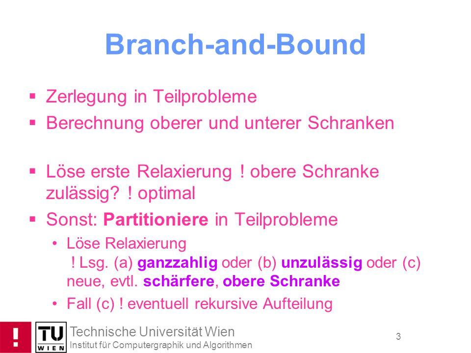 Technische Universität Wien Institut für Computergraphik und Algorithmen 3 Branch-and-Bound Zerlegung in Teilprobleme Berechnung oberer und unterer Sc