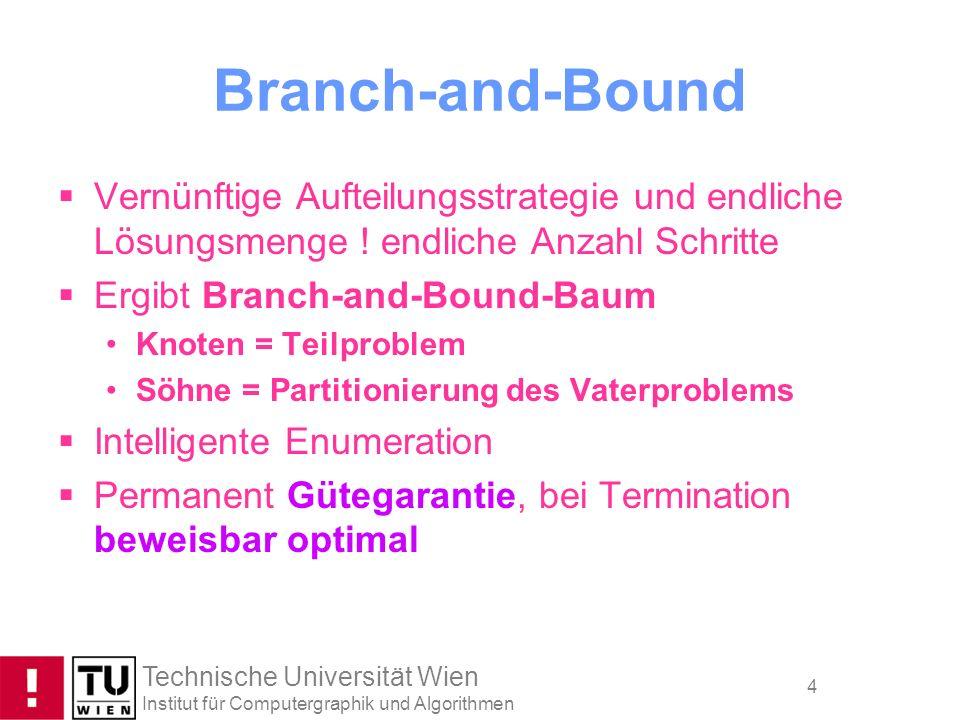 Technische Universität Wien Institut für Computergraphik und Algorithmen 5 Branch-and-Bound Betrachte das folgende ILP: Max x + y + 2z Subject to 7x + 2y + 3z 36 5x + 4y + 7z 42 2x + 3y + 5z 28 x, y, z 0, ganzzahlig (IP 0 ) LP-Relaxierung