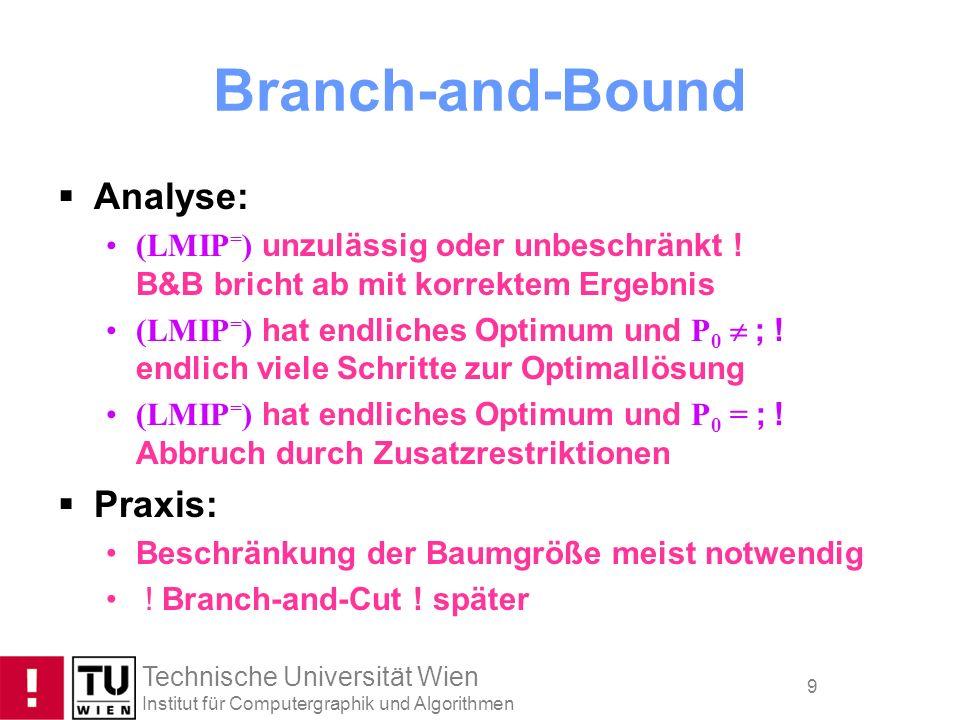 Technische Universität Wien Institut für Computergraphik und Algorithmen 9 Branch-and-Bound Analyse: (LMIP = ) unzulässig oder unbeschränkt ! B&B bric