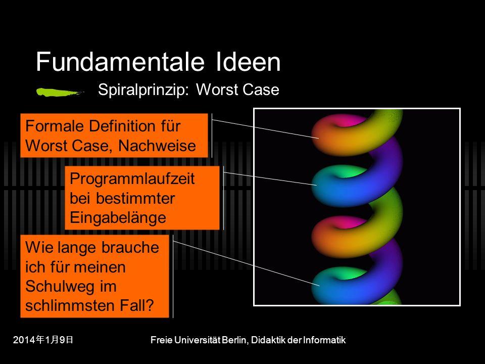 201419 201419 201419 Freie Universität Berlin, Didaktik der Informatik Fundamentale Ideen Wie lange brauche ich für meinen Schulweg im schlimmsten Fall.