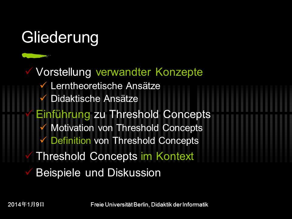 201419 201419 201419 Freie Universität Berlin, Didaktik der Informatik Gliederung Vorstellung verwandter Konzepte Lerntheoretische Ansätze Didaktische Ansätze Einführung zu Threshold Concepts Motivation von Threshold Concepts Definition von Threshold Concepts Threshold Concepts im Kontext Beispiele und Diskussion