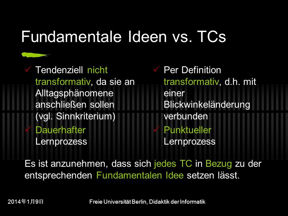 201419 201419 201419 Freie Universität Berlin, Didaktik der Informatik Fundamentale Ideen vs.
