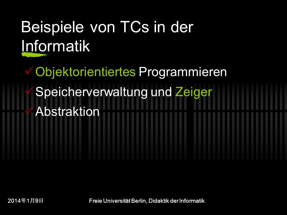 201419 201419 201419 Freie Universität Berlin, Didaktik der Informatik Beispiele von TCs in der Informatik Objektorientiertes Programmieren Speicherverwaltung und Zeiger Abstraktion