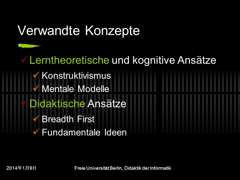 201419 201419 201419 Freie Universität Berlin, Didaktik der Informatik Verwandte Konzepte Lerntheoretische und kognitive Ansätze Konstruktivismus Mentale Modelle Didaktische Ansätze Breadth First Fundamentale Ideen