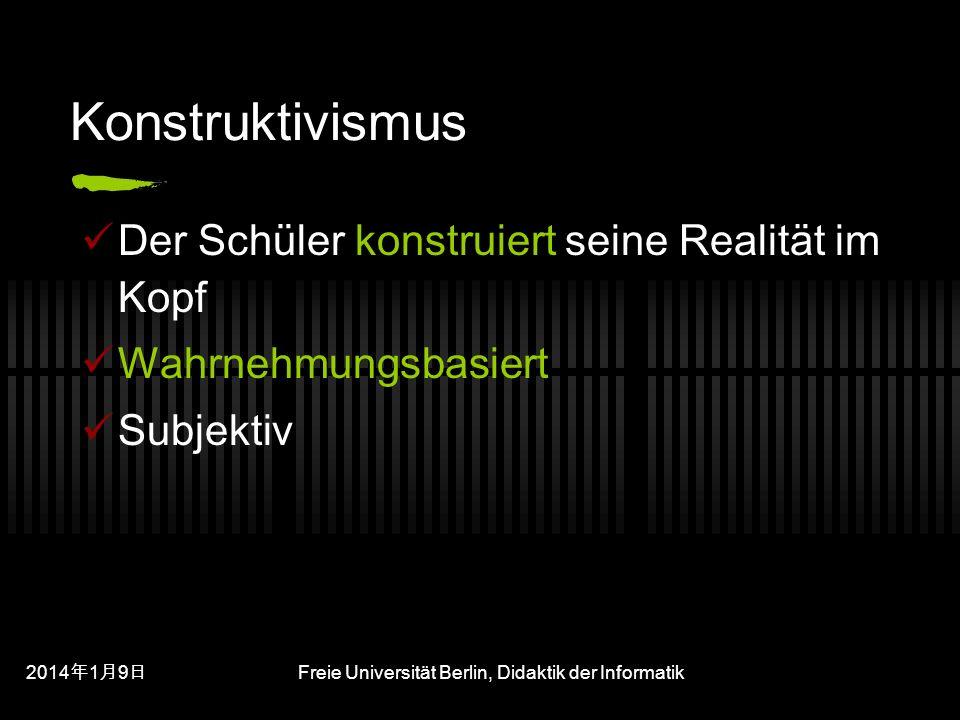 201419 201419 201419 Freie Universität Berlin, Didaktik der Informatik Konstruktivismus Der Schüler konstruiert seine Realität im Kopf Wahrnehmungsbasiert Subjektiv