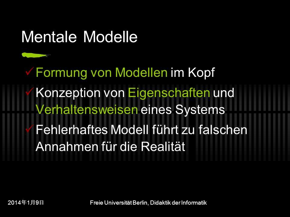 201419 201419 201419 Freie Universität Berlin, Didaktik der Informatik Mentale Modelle Formung von Modellen im Kopf Konzeption von Eigenschaften und Verhaltensweisen eines Systems Fehlerhaftes Modell führt zu falschen Annahmen für die Realität