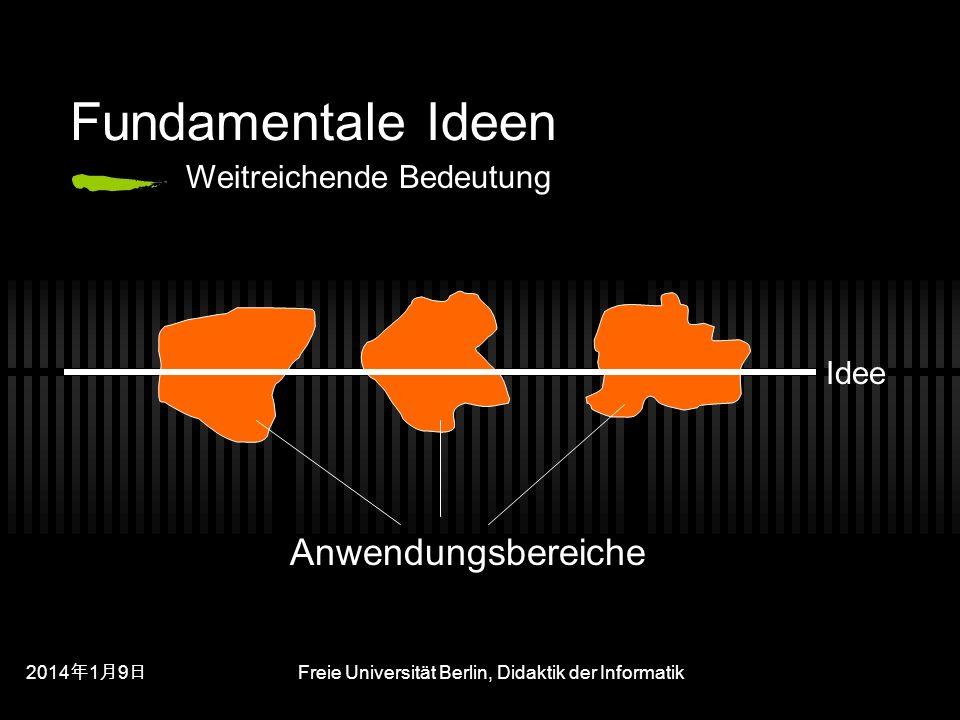 201419 201419 201419 Freie Universität Berlin, Didaktik der Informatik Fundamentale Ideen Idee Anwendungsbereiche Weitreichende Bedeutung