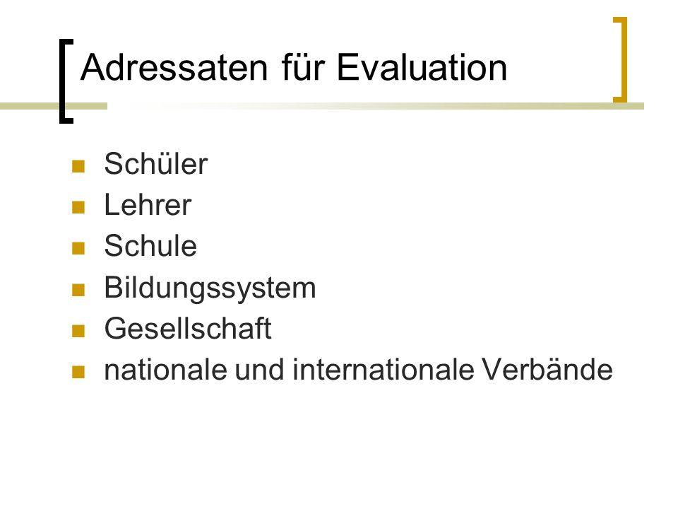 Adressaten für Evaluation Schüler Lehrer Schule Bildungssystem Gesellschaft nationale und internationale Verbände