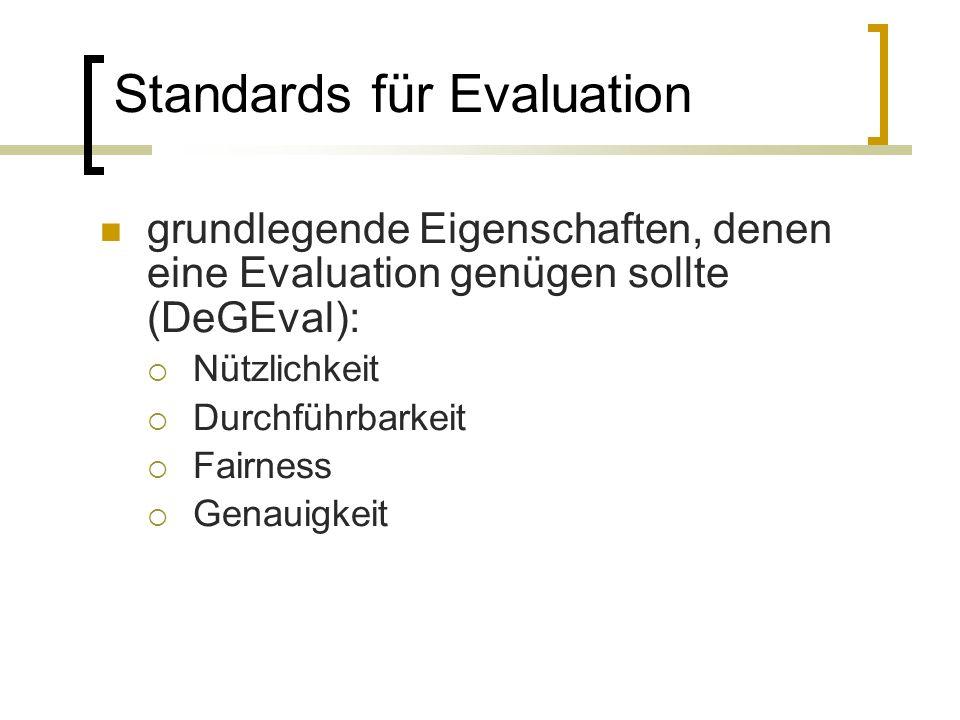 Standards für Evaluation grundlegende Eigenschaften, denen eine Evaluation genügen sollte (DeGEval): Nützlichkeit Durchführbarkeit Fairness Genauigkeit