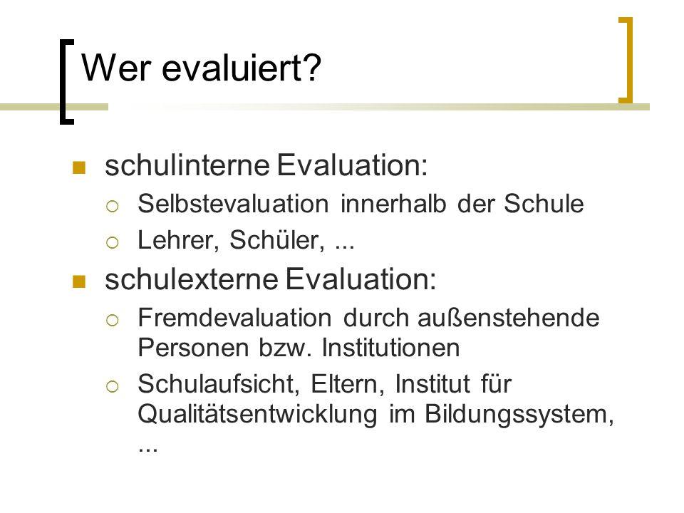 schulinterne Evaluation: Selbstevaluation innerhalb der Schule Lehrer, Schüler,...