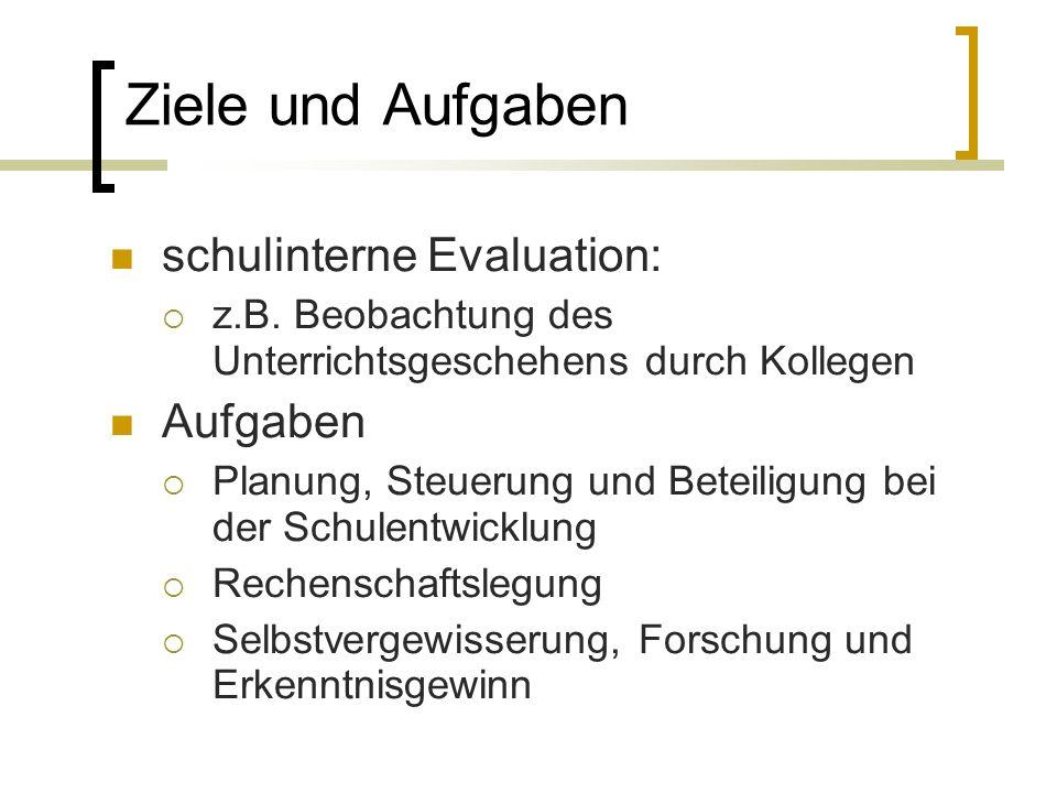 Ziele und Aufgaben schulinterne Evaluation: z.B.