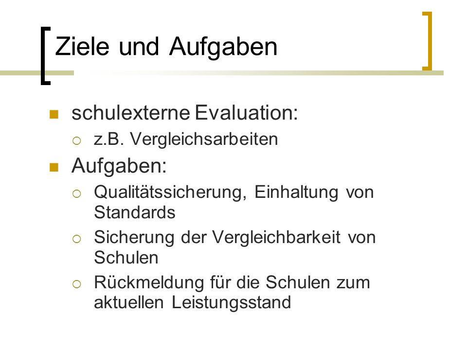 Ziele und Aufgaben schulexterne Evaluation: z.B.