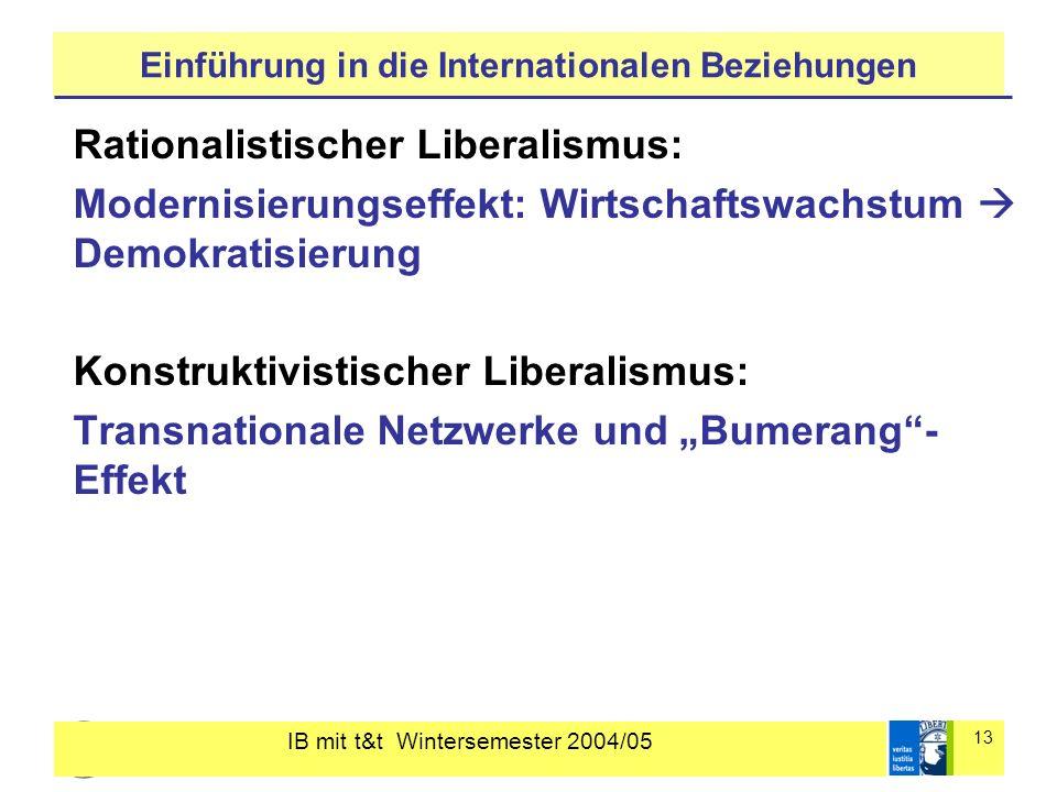IB mit t&t Wintersemester 2004/05 13 Einführung in die Internationalen Beziehungen Rationalistischer Liberalismus: Modernisierungseffekt: Wirtschaftsw