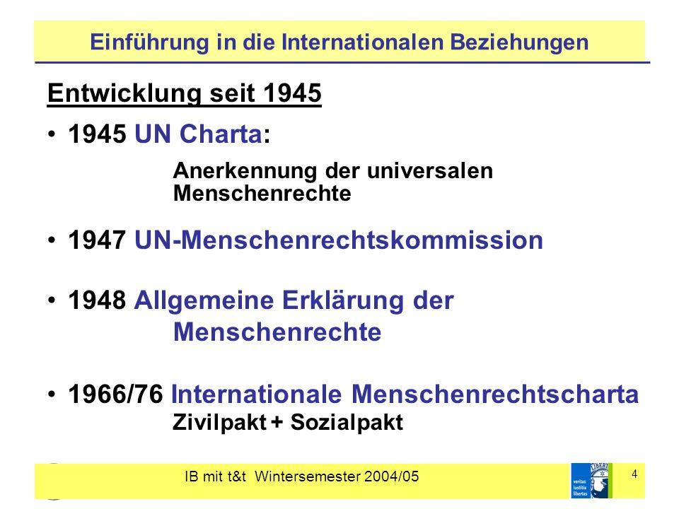 IB mit t&t Wintersemester 2004/05 5 Einführung in die Internationalen Beziehungen 1966 Konvention gegen Rassendiskriminierung 1979 Konvention gegen Frauendiskriminierung 1984 Anti-Folter Konvention 1988 Anti-Völkermord Konvention 1989 Kinderrechtskonvention