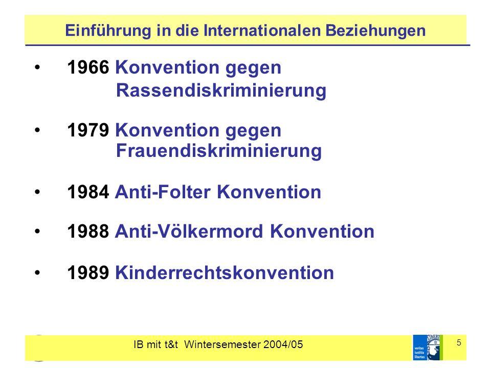 IB mit t&t Wintersemester 2004/05 5 Einführung in die Internationalen Beziehungen 1966 Konvention gegen Rassendiskriminierung 1979 Konvention gegen Fr
