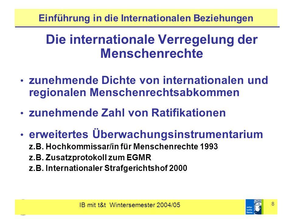 IB mit t&t Wintersemester 2004/05 8 Einführung in die Internationalen Beziehungen Die internationale Verregelung der Menschenrechte zunehmende Dichte